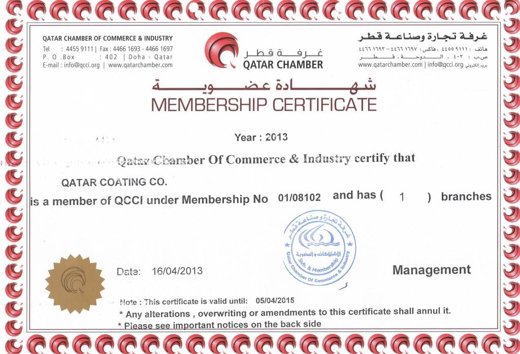 chamber certificate